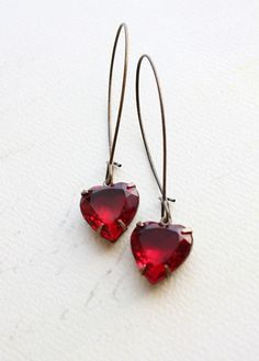 Heart Earrings Rhinestone Ruby Red Vintage by apocketofposies