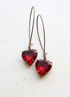 Heart Earrings Rhinestone Ruby Red Vintage by apocketofposies