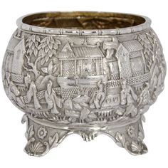 Chinese Export Silver Bowl | From a unique collection of antique and modern bowls at https://www.1stdibs.com/furniture/dining-entertaining/bowls/