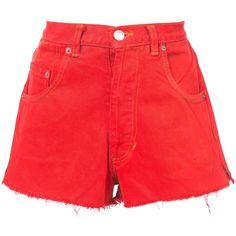Re/Done Denim Mini Shorts ($195) ❤ liked on Polyvore featuring shorts, clothing /, denim, kirna zabete, mini shorts, micro denim shorts, mini denim shorts, red shorts and red denim shorts