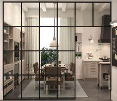Deulonder Sotilla #CasaDecor2014 Kitchen Room Design, Kitchen Interior, Home Interior Design, Kitchen Dining, Room Partition Designs, Master Bedroom Interior, Interior Windows, Cuisines Design, Home Renovation