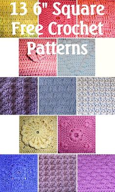 "Thirteen free 6"" square patterns, from Halfknits  #crochet #motif"