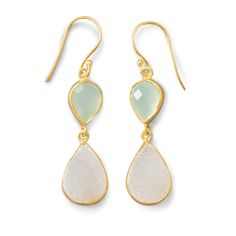 14K Gold Plated Sterling Silver Earrings with Green Chalcedony and White Druzy