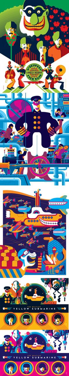 tom whalen - yellow submarine - the beatles . Beatles Love, Beatles Art, Festa Yellow Submarine, Mundo Hippie, Music Tattoo Designs, Tattoo Music, Tom Whalen, Concert Posters, Music Posters