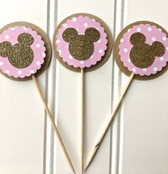 Pink and Gold Minnie party Minnie Mouse cupcake by CricketCuts