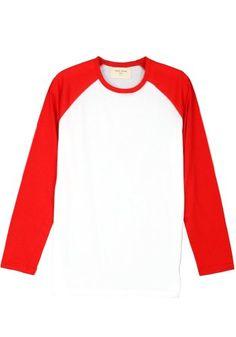 ililily Simple Basic 100% Cotton Two-tone Baseball Tee Raglan Long Sleeve T-shirt (tshirts-038-6-2) ililily