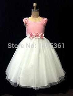 Envío gratis Handmake primera comunión manga niña de las flores corto para bodas 2014 flor Sashes vestido de fiesta largo chica AF5
