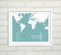 SO CUTE Personalized Anniversary Gift : Custom World Map - Globe Trotter Couple - 8x10 / Long Distance Relationship. $47.00, via Etsy.