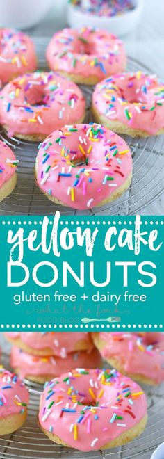 Gluten Free Yellow Cake Donuts (and dairy free) make the ultimate fun breakfast! Recipe from @Sharon | What The Fork Food Blog | whattheforkfoodbl... | Sponsored by New England Coffee