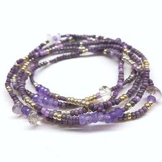 Amethyst Delight Beaded Stretch Wrap Bracelet Necklace