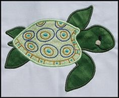 Baby Sea Turtle Applique and Fill designs 4x4 and 5x7 hoop Machine Embroidery. $4.99, via Etsy.