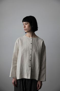 Natural Linen-Wool Shirt | cendre                                                                                                                                                                                 More