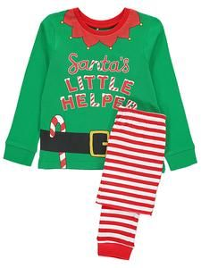 this fun and festive pyjama set is the perfect way to ensure that santas little helper is comfy on christmas day comprising of a printed t shirt with a