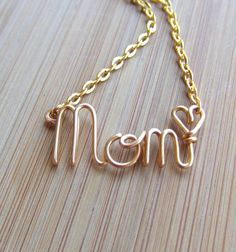 Mom Necklace Mothers Gift  Gold, Silver or Copper  by deannewatsonjewelry,