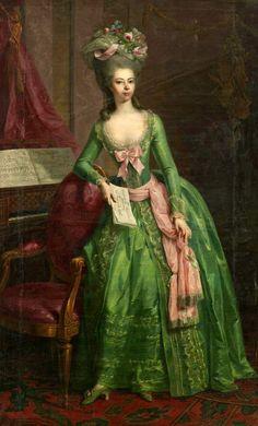 """Johann Heinrich TISCHBEIN, """"Retrato de la Landgravina Juliane Wilhelmine Luise von Hessen-Philippsthal, Condesa zu Schaumburg-Lippe y del S.S.I.R.G. (1761-1799), Regente de Schaumburg-Lippe de 1787 a 1799""""; óleo sobre lienzo, 1781."""