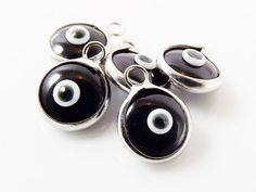 5 Mini Black Evil Eye Nazar Artisan Glass Bead by LylaSupplies, $4.50