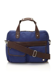 70% OFF Block Men's Leather and Canvas Briefcase (Blue)