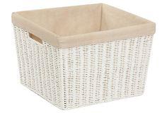 Parchment Cord Basket w/ Liner, Large on OneKingsLane.com