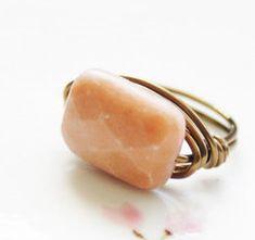 Wrapped Peach Aventurine Ring