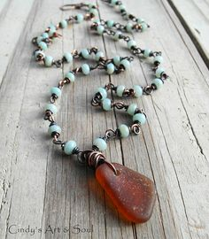 Sea Glass Beaded Chain Necklace Amazonite by ArtandSoulJewelry, $84.00