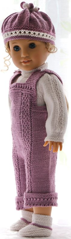 Doll clothes to knit - lovely outfit in lilac and white for your doll!