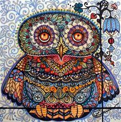 Magic graphic owl painting Art Print by Oxana Zaika | Society6