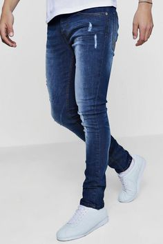 Spray On Skinny Fit Distressed Denim Jeans Blue Jeans Outfit Men, Pants Outfit, Denim Fashion, Fashion Pants, Business Casual Men, Men Casual, Tight Jeans Men, Super Skinny Jeans, Skinny Fit