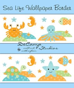 Sea Life ocean creatures wallpaper border wall decals for baby boy or girl nautical nursery and children's room decor. Includes a crab, fish, sea horse, star fish, and sea turtle #decampstudios