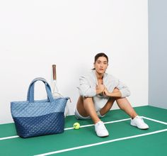 "MZ Wallace Oxford Nylon colorblock Metro Tote ready for a game of tennis with Julie ""Jaws"" Nelson."