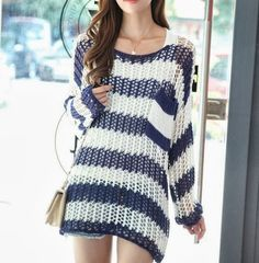 Blue and White Crochet Sweater