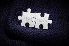Manschettenknöpfe - Personalisierte silberne Puzzle-Manschettenknöpfe - ein Designerstück von FeinFeinStudio bei DaWanda