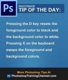 Pressing the D key resets the foreground color to black and the background color…