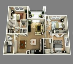 50 Two  2  Bedroom Apartment House Plans   Aerial view 3D Space 3D     New home inspiratoin