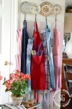 HOW TO ADD SEASONAL DECOR TO YOUR HOME-red white and blue summer aprons-stonegableblog.com