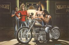"DAVID MANN ""LOCAL PUB"" EASYRIDERS CLASSIC PRINT POSTER ART FROM BOOK"