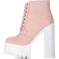Wesley Pink Chunky Lace Up Boots ($53) ❤ liked on Polyvore featuring shoes, boots, ankle booties, pink, faux leather booties, vegan boots, pink boots, chunky-heel boots and laced up boots