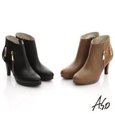 $3380-A.S.O 網路獨家 全牛皮雙面料拉鍊短靴 棕 - Yahoo!奇摩購物中心
