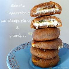 ΤΥΡΟΠΙΤΑΚΙΑ ΜΕ ΑΛΕΥΡΙ ΟΛΙΚΗΣ ΑΛΕΣΗΣ – Foods & SuperFoods Hot Dog Buns, Bagel, Finger Foods, Baked Potato, Food Processor Recipes, Strawberry, Gluten Free, Mint, Tasty