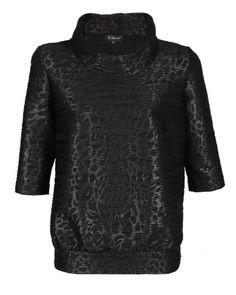 Caterina, czarna bluzka, szeroki golf, wstawka z dzianiny imitującej skórę, rozszerzana ku dołowi, https://sklep.caterina.pl