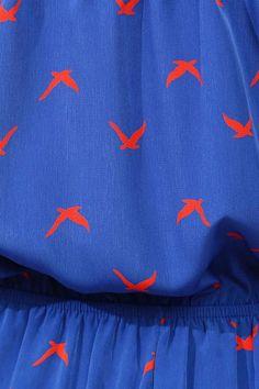 Bird Print Romper - Royal, as scarfes