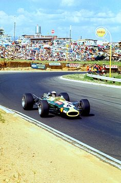 SA68 ~ This is New Year's Day, 1968, in Kyalami, South Africa, and Jimmy Clark is on his way to scoring his 25th and final Formula 1 win. And see those folk in the background? Despite January 1st being an odd day of the year for a race by current standards, we're pretty sure not one of those people is thinking about football or rugby or cricket. A race fan is a race fan 24/7/365. (Image and comments from Robin Miller's mailbag at Racer.com)