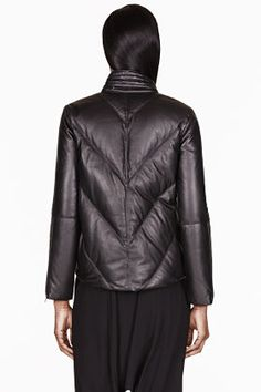 HELMUT LANG Black leather Cropped Pitch Puffer Jacket