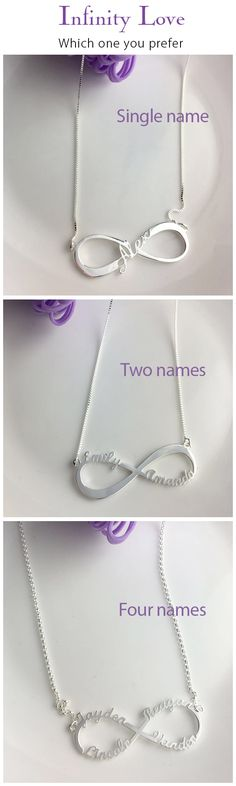Personalized Infinity Necklace with cut out 1-4 names,express I Love You Forever.Unique design just for her. Come and discover more at Getnamenecklace.com