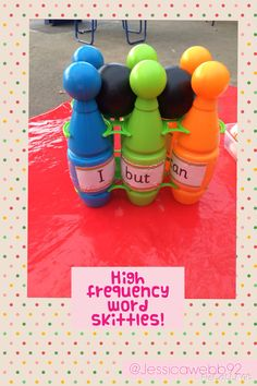 High frequency word skittles. EYFS Literacy Display, Literacy Games, Phonics Reading, Teaching Phonics, Phonics Activities, Learning Activities, Jolly Phonics, Outdoor Classroom, Outdoor School