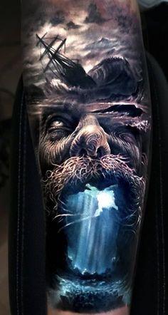 Jaw-Dropping Face Morph Tattoos By Arlo DiCristina - KickAss Things, stunningly beautiful face morph tattoo ©️️ tattoo artist Arlo DiCristina 💕📌💕📌💕📌💕. Kunst Tattoos, Skull Tattoos, Forearm Tattoos, Body Art Tattoos, Tattoo Ink, Realism Tattoo, Norse Tattoo, Viking Tattoos, Badass Tattoos