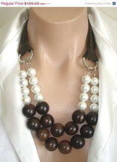 STOCK REDUCTION: Ashira Statement Necklace Ebony Beads, White Mother of Pearls, Ribbon