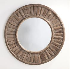 Wisteria - Mirrors & Wall Decor - Shop by Category - Mirrors - Round Adirondack Mirror Round Wood Mirror, Wood Framed Mirror, Round Mirrors, Mirror Mirror, Wood Closet Doors, Backlit Mirror, Blue Velvet Dining Chairs, Driven By Decor, Loft Design