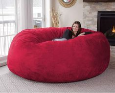 Chill Sack Bean Bag Chair: Giant 8' Memory Foam Furniture Bean Bag - Big Sofa with Soft Micro Fiber Cover - Cinnabar #CuteGiftIdeas #Gift #LazySofa