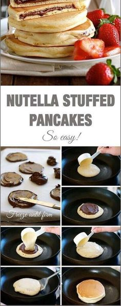 SplendidNutella Stuffed Pancakes – frozen Nutella discs makes it a breeze to make the Nutella stuffed pancakes! The post Nutella Stuffed Pancakes – frozen Nutella discs makes it a breeze to make the Nu… appeared first on Recipes 2019 . I Love Food, Good Food, Yummy Food, Delicious Snacks, Pancakes Nutella, Breakfast Pancakes, Breakfast Casserole, Chocolate Pancakes, Sweets