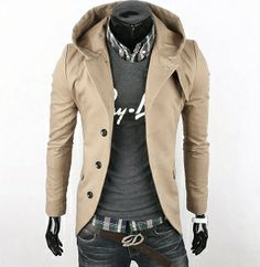 Mens Casual Hooded Blazer